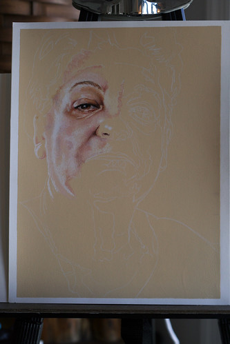 Photo of in-progress colored pencil portrait of my mother-in-law, Serra.