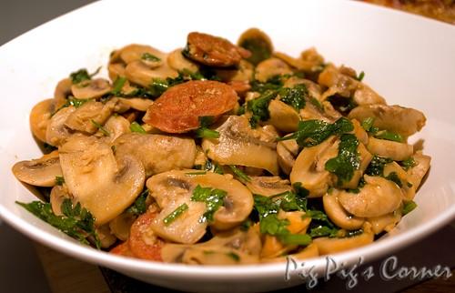 mushrooms chorizo p