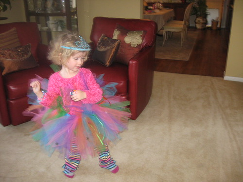 Dancing in her new Rainbow Tutu