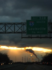 (abbymack) Tags: travel light sun cars scary highway indiana pollution