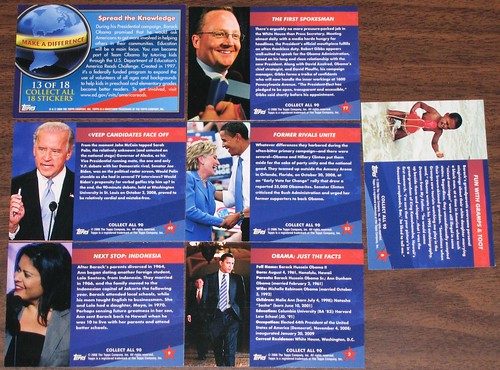 Backs of 7 Topps Barack Obama Trading Cards