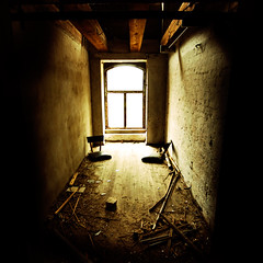 The Room (rasenkantenstein) Tags: lighting old light shadow urban white art abandoned window bar port chair bars chairs harbour decay details neglected wideangle storage beam magdeburg weathered dust hafen derelict beams lightsource urbex konstantin 10mm rasenkantenstein