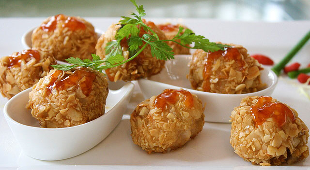 Deep Fried Goose Liver & Prawn Ball with Almond Flakes