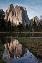 Cathedral Rocks (Nick Chill Photography) Tags: travel reflection photography nationalpark spring nikon searchthebest image stock explore yosemite granite naturalwonder prehistoric towering grandeur cathedralrocks d90 elcapitanmeadow nickchill