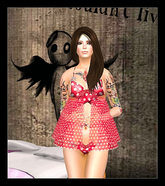 Red Polka Dot Bikini Group Gift by Lemania Indigo Designs  + Al Vulo Group Gift Skin