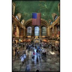 Ghosts of Grand Central (sunsurfr) Tags: nyc newyork building architecture train subway manhattan flag terminal structure grandcentralstation ghosts d200 grandcentral hdr photomatix sunsurfr