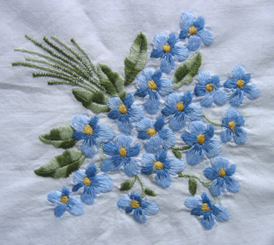 embroidered violets
