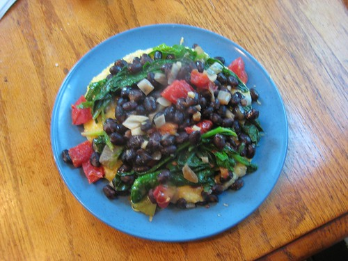 polenta with spinach and black beans etc.
