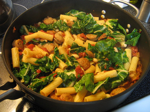 Rotini with Swiss Chard & Sausage Ragu | Simply Cooking