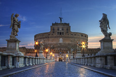 The Castel Sant' Angelo (HDR) (Steven M. Johnson) Tags: longexposure travel italy rome statue sunrise europe statues mausoleum soe castelsantangelo blueribbonwinner hadriansmausoleum superbmasterpiece diamondclassphotographer flickrdiamond