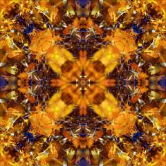 Ash Tree Leaves Kaleidoscope (hz536n/George Thomas) Tags: blue trees abstract flower fall oklahoma yellow flora kaleidoscope stillwater 2007 cs3 canon30d canonef70200mmf4lusm