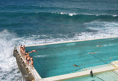 Racing Icebergs (Tim J Keegan) Tags: ocean winter cold beach pool bondi race swimming waves dive sydney australia nsw iceberg bondibeach relay bluegreen bondiicebergs oceanpool waverlycouncil