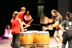 "Jeff's turn at the ""switch drums"" exercise (flashlightfish) Tags: japan drum taiko drumming jccc taikodrumming japanfestival taikodrum johnsoncountycommunitycollege greaterkansascityjapanfestival"