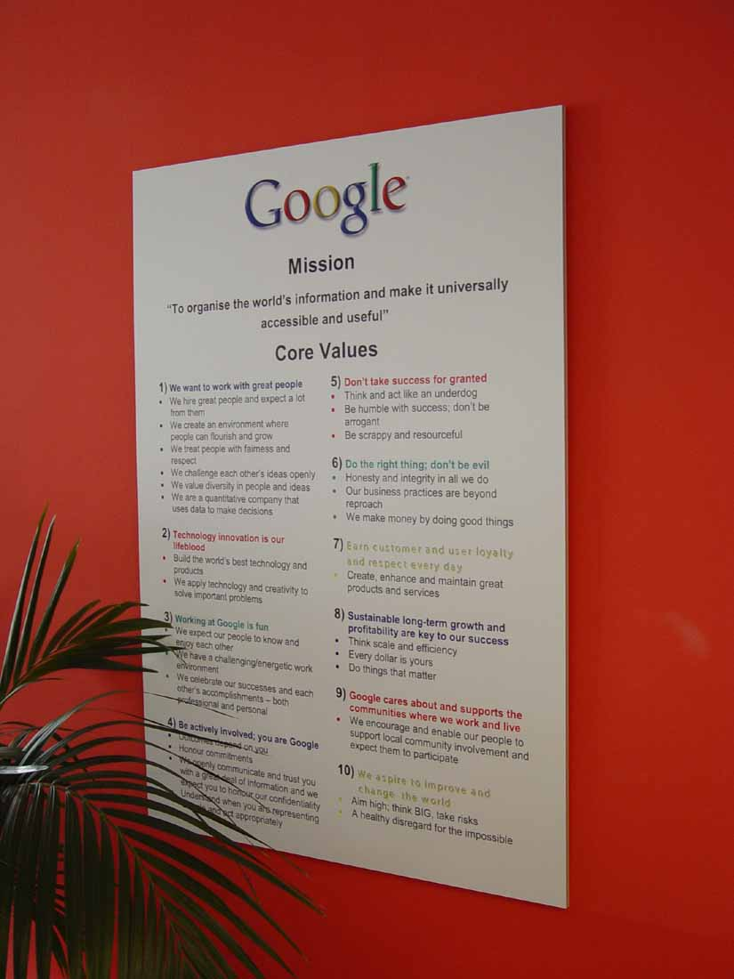 list of google core values