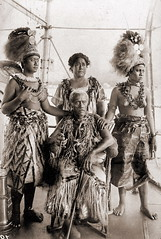 Samoan Chief and his Family (ookami_dou) Tags: vintage polynesia samoa exile traditionalcostume mau headdress tuiga lauaki sivaotele