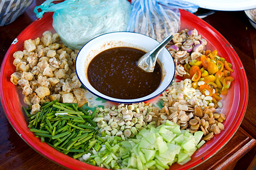 Miang laao, Lao-style crudites, as served at a funeral in Luang Prabang