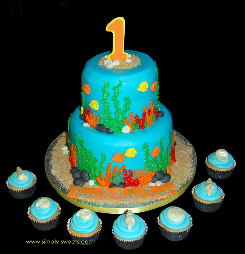 1st Birthday Under the Sea theme cake