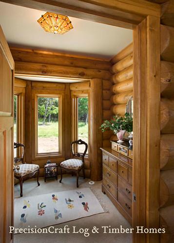 Milled Log Home Dressing Room | Custom Log Home Design | by PrecisionCraft Log Homes,house, interior, interior design