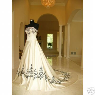 white wedding dress with black. Black and White Wedding Dress