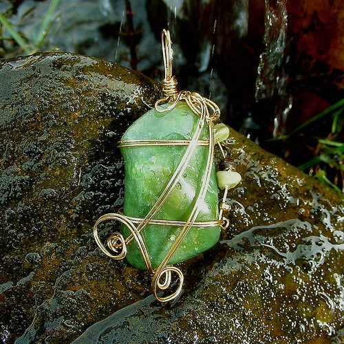 JADED - Wire Wrapped Jade Pendant Embellished with Butter Jade Chips