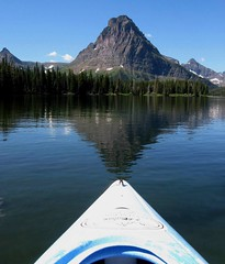 Kayak to Heaven, Bliss at Two Medicine Lake, Glacier National Park (moonjazz) Tags: morning trees summer mountain reflection nature pine point landscape fun rockies boat perfect montana heaven kayak peace natural earth ripple fresh glacier clear health alpine target vista balance geography geology glaciernationalpark wilderness pure preserve alignment pristine sinopah twomedicinelake mywinners