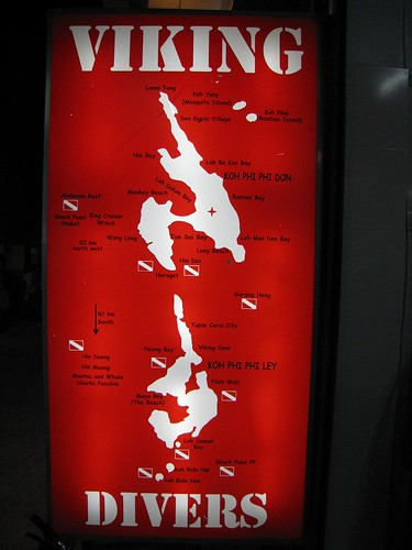 Sign and map at Viking Divers