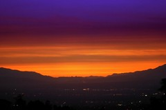 Romantic Dusk @ San Gabriel Valley (CharlieBrown8989) Tags: california pink blue trees sunset red sky orange usa mountain black color misty fog canon lights yahoo smog interestingness flickr peace purple zoom dusk gray violet picasa best hills explore romantic tele charliebrown8989 cluds corel sangabrielvalley pollutions paintshopproxi losagelas