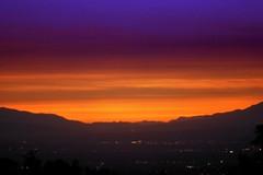 Romantic Dusk @ San Gabriel Valley (CharlieBrown8989) Tags: california pink blue trees sunset red sky orange usa mountain black color misty fog canon light