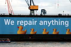 We repair anything.....kwak-kwak (LiesBaas) Tags: haven water germany boot boat duck reclame hamburg commercial 2008 duckies eend eendje mensen kleur eendjes kleurenfoto liesbb havenwerktuigen havenwerktuig