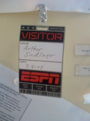 ESPN Tour - my official visitor badge