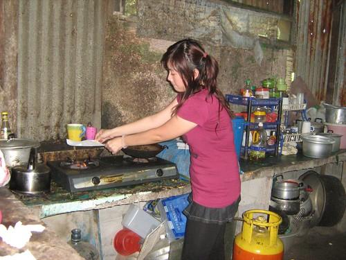 Miharu preparing props