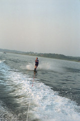 Waterskiing On Moriches Bay (Joe Shlabotnik) Tags: 1988 waterskiing june1988 suew morichesbay