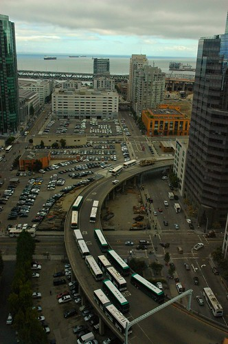 Embarcadero bus transportation corridor 20 floors up San Francisco California