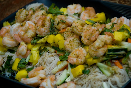 shrimp and mango salad on brown rice vermicelli