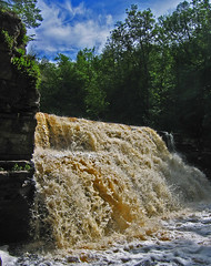 Canyon Falls (Walt K) Tags: county river michigan canyon falls upper alberta peninsula sturgeon baraga waltk highwayus41