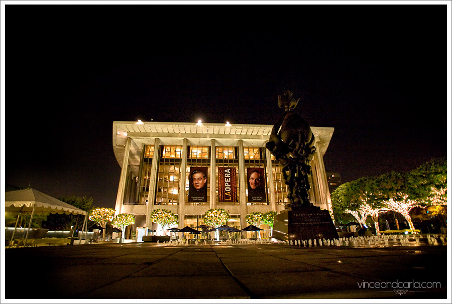 dorothy chandler pavilion music hall reception wedding fountain night catering downtown los angeles la