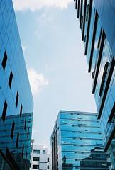 파란색 빌딩과 하늘