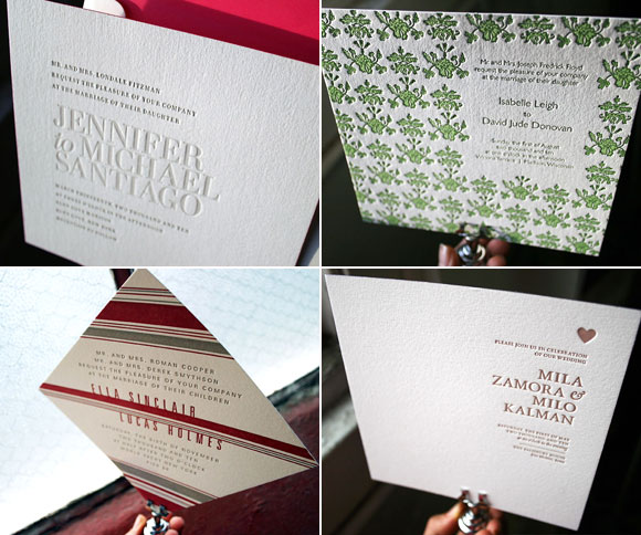 square and horizontal letterpress wedding invitations are in vogue