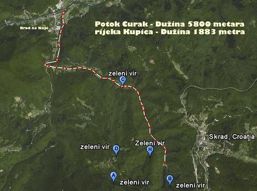 Karta potoka Curka iz google earth-a