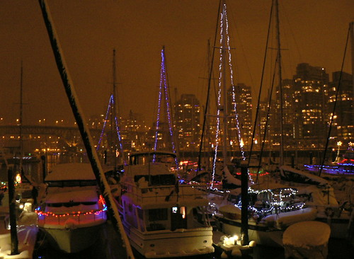 Marina at False Creek With Seasonal Lighting