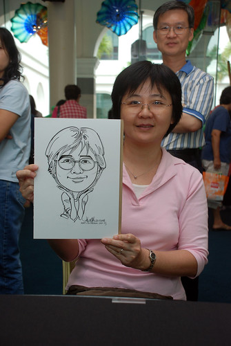 Caricature live sketching at Singapore Art Museum Christmas Open House - 10