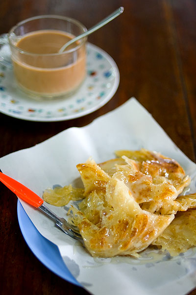 Sweet roti and tea at a Muslim restaurant in Mae Sot