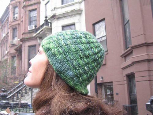 green swirly hat