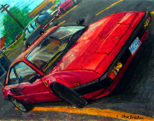 An oil pastel drawing of a 1982 Ferrari Mondial Quattrovalvole.