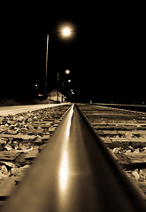 Rail Light (EricMagnuson) Tags: railroad metal streetlight iron traintracks rail railway trainstation day49 aphotoaday railbed grandcounty project365 granbycolorado 49365