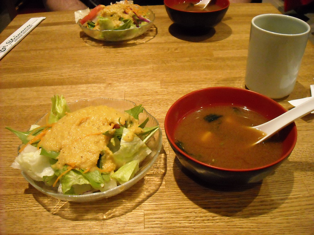 salad and miso shiru