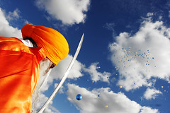 Saffron Blue (Atma Singh) Tags: sky colour balloons sword sikh artofimages bestcaptureaoi