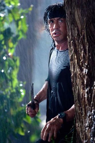 John Rambo holding knife