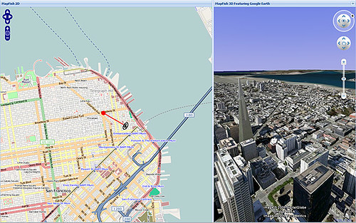 MapFish 2D with Google Earth 3D