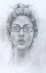 self-portrait with glasses (.carito.) Tags: pencil glasses drawing expression estudio study mueca dibujo anteojos lpiz eyesopen expresin ojosabiertos
